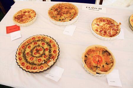 savory: plated savory pie Stock Photo