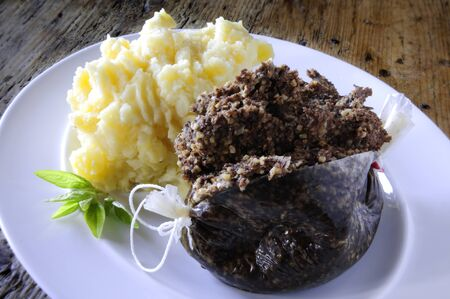 traditional haggis plated meal