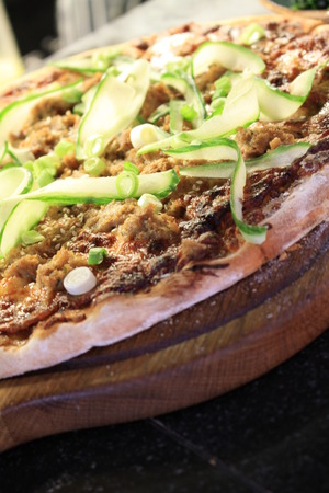 pulled: pulled chicken pizza