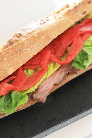 sub: beef and chilli sub sandwich Stock Photo