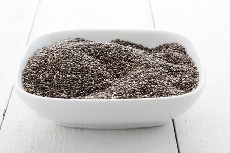 皿にチア種子 写真素材