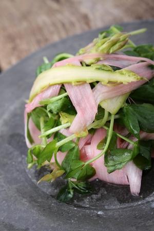 watercress: rhubard asparagus and watercress salad