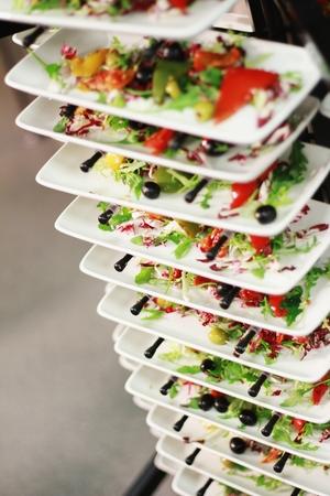 plating: salad bar selection Stock Photo