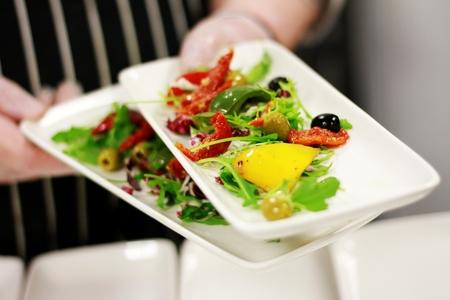 plating: chef preparing food