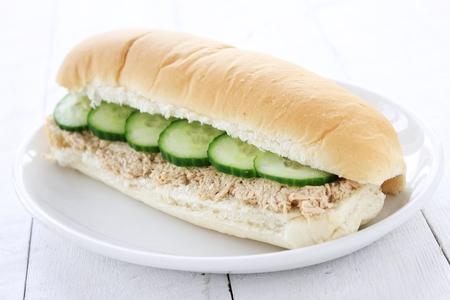 sub: tuna cucumber sub sandwich