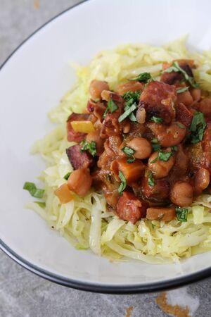chorizo: chorizo and chcikpea stew Stock Photo