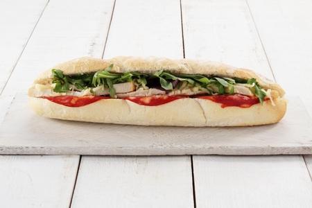 sub: chorizo and chicken salad sub