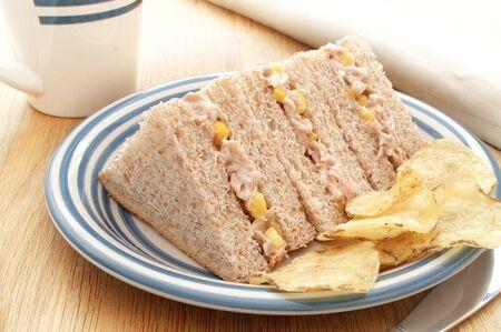 lite food: plated tuna and sweetcorn sandwich Stock Photo