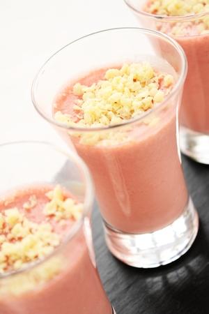 starter: strawberry mousse canape starter Stock Photo