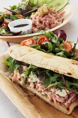 hock: ham hock flat bread sandwich with salad