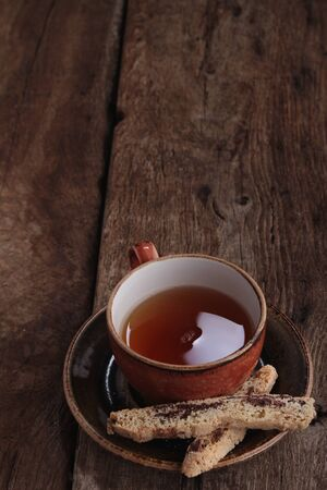 elevenses: fresh tea in cup