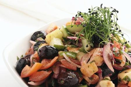 greek salad: greek salad in bowl Stock Photo