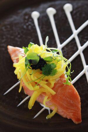 plated: hot smoked salmon appetizer starter Stock Photo