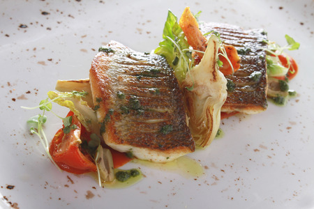seabass: healthy seabass fish plated meat