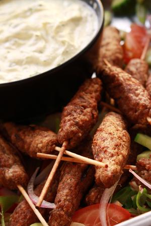 kebob: mini kofte shish kofta kebabs with dip