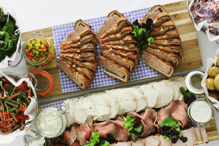 cold meat buffet selection food
