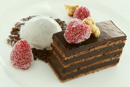 ganache: layered chocolate ganache sweet plated dessert pudding