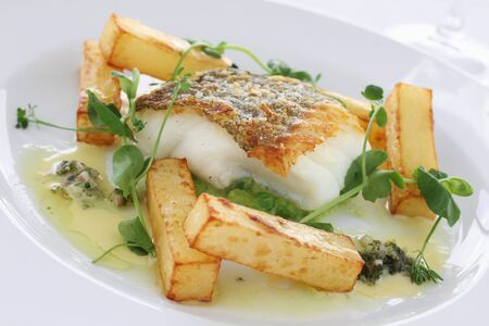 mush: gourmet fish and chips with mush peas meal