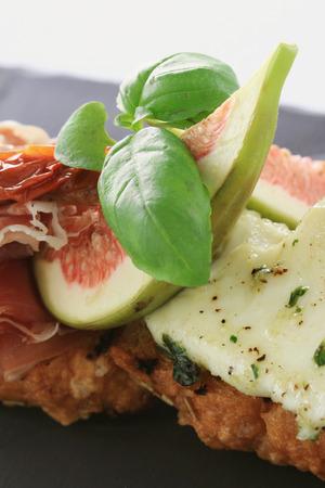 cured: fig and cured ham bruschetta  appetizer starter