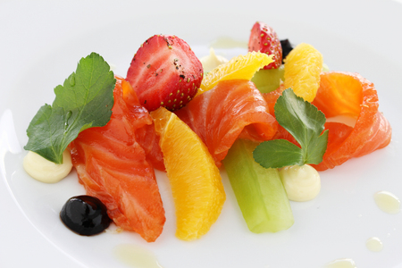 starter: healthy smoked cured salmon appetizer starter meal Stock Photo