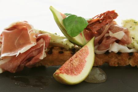 cured ham: fig and cured ham bruschetta  appetizer starter