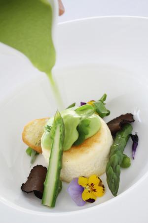 seasonal: baked seasonal  asparagus cheese souffle starter appetizer