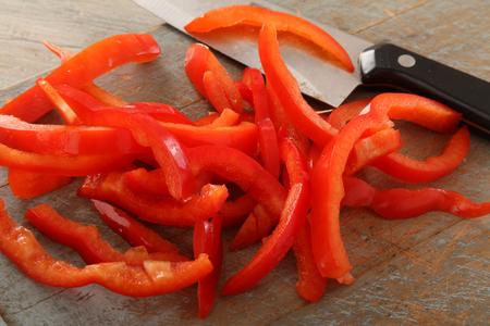 prepared sliced red pepper Stock Photo