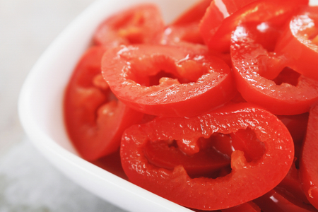 prepared sliced red chillies