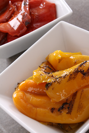 char grilled red and yellow bell peppers