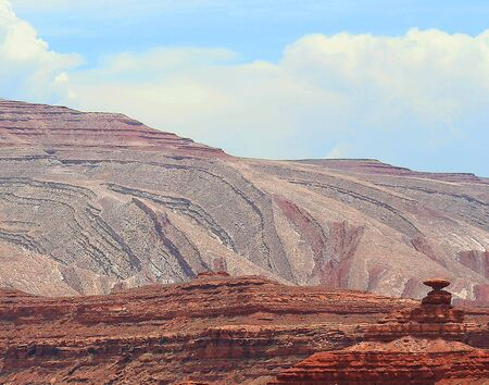 tortured: Twisted and tortured geology amazes in the vicinity of Mexican Hat Rock, Utah.