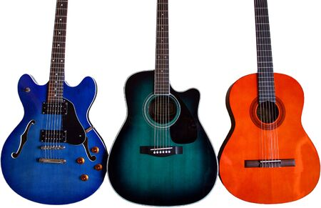 A Blue Semi-Hollow Electric, A Green Acoustic Electric, And An Orange Classical Guitar On White.