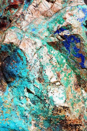 copper: A close-up look at the intense greens and blues of malachite and azurite in Arizonas copper ore deposits.