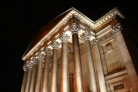 splendour: Illuminated at night, Saint Georges Great Hall, in Liverpool, is an example of fine civic splendor