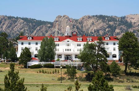 lodges: A Front View of the Stanley Hotel, Estes Park, Colorado Stock Photo
