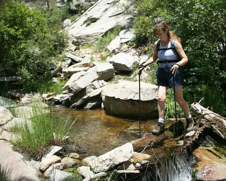 A Woman On A Hike Uses Trekking Poles To Carefully Make  A Risky Creek Crossing  Stock Photo - 3331107