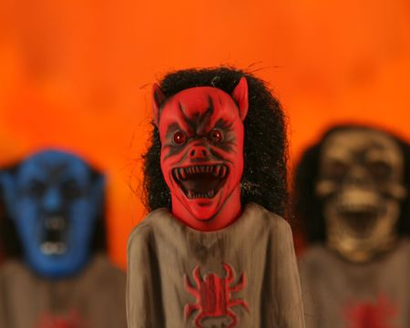 A Trio of Ghoulish Monsters: Red Demon, Blue Vampire and Skeleton Stock Photo - 3649551