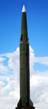 pershing: A Pershing II Surface-to-Surface Missile Against the Sky Stock Photo