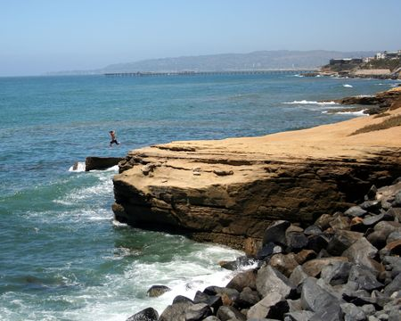 seeker: A Man Leaping from a Cliff into the Sea, Point Loma, San Diego