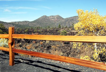 A Rail Fence Along a Lava Flow at Sunset Crater Volcano National Monument, Arizona photo