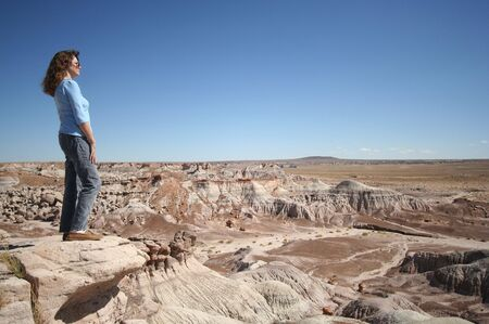 overlook: A Woman Gazes at Petrified Forest National Park, Arizona