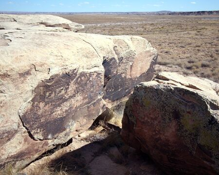 Ancient petroglyphs in Petrified Forest National Park, Arizona