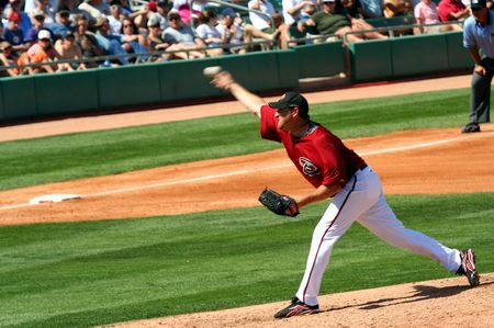 webb: Arizona Diamondbacks Right Handed Baseball Pitcher e vincitore del premio Cy Young, Brandon Webb in un gioco di formazione primavera del 21 marzo 2009, a Tucson Electric Park, Tucson, Arizona