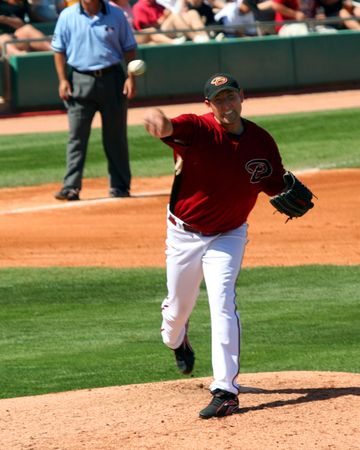 Arizona Diamondbacks Right Handed Baseball Pitcher, and Cy Young Award Winner, Brandon Webb throws to First Base in a Spring Training Game on March 21, 2009, at Tucson Electric Park, Tucson, Arizona Stock Photo - 6885557