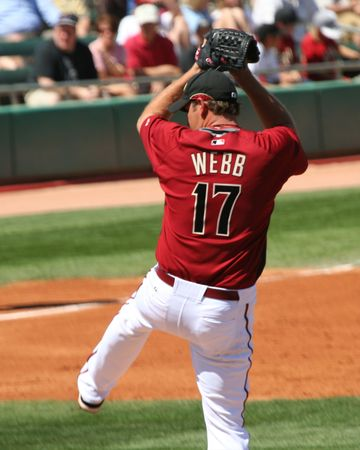Arizona Diamondbacks Right Handed Baseball Pitcher, and Cy Young Award Winner, Brandon Webb in a Spring Training Game on March 21, 2009, at Tucson Electric Park, Tucson, Arizona