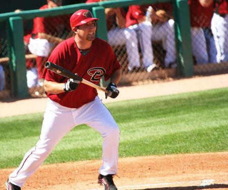 Arizona Diamondback Brandon Webb After Laying Down a Bunt in a Spring Training Game on March 21, 2009, at Tucson Electric Park, Tucson, Arizona