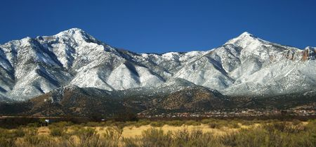 A View of the Huachuca Mountains in Winter in Arizona
