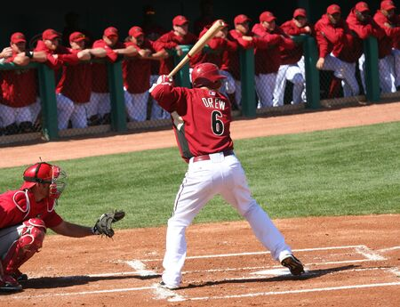 At bat, Stephen Drew in an Arizona Diamondbacks game against the Los Angeles Angels on March 11, 2010, at Tucson Electric Park in Tucson, Arizona, during spring training.