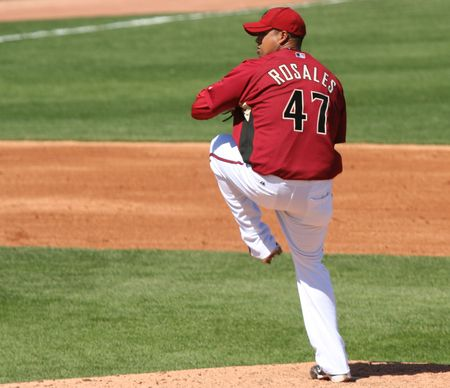 Arizona Diamondbacks Leo Rosales Pitches in a game against the Los Angeles Angels on March 11, 2010, at Tucson Electric Park in Tucson, Arizona, during spring training.