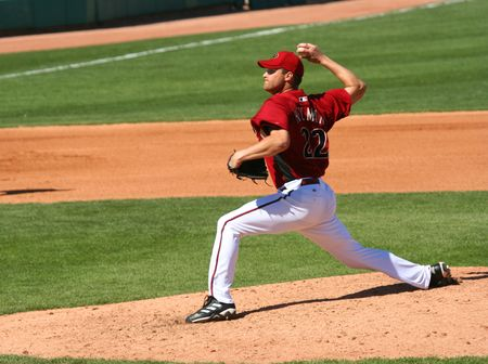 Arizona Diamondbacks pitcher Aaron Heilman in a game against the Los Angeles Angels on March 11, 2010, at Tucson Electric Park in Tucson, Arizona, during spring training. Stock fotó - 6890484