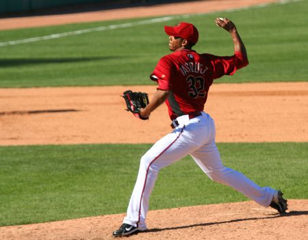 Esmerling Vasquez pitches in an Arizona Diamondbacks game against the Los Angeles Angels on March 11, 2010, at Tucson Electric Park in Tucson, Arizona, during spring training.